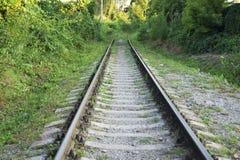 Linia kolejowa poręcz, tło, lato, kolej, perspektywa, sen, piękny Fotografia Royalty Free