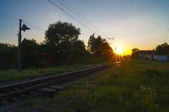 Linia kolejowa poręcz, tło, lato, kolej, perspektywa, sen, piękny Obrazy Stock