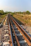 Linia kolejowa przez zielonych rośliien omijanie Podróż sposób pociągiem zdjęcie stock