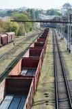 Linia kolejowa samochody Fotografia Royalty Free