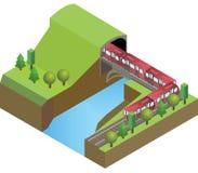 Linia kolejowa tunel z pociągiem, most nad rzeka na natury tle, Obraz Royalty Free