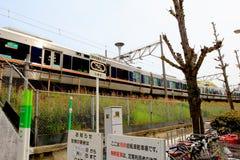 Linia kolejowa w Japonia działał Zachodnim jr Obrazy Royalty Free