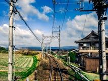 Linia kolejowa w kraju Fotografia Royalty Free