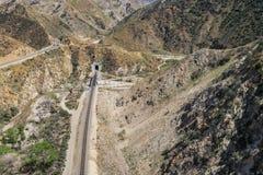 Linia kolejowa w Południowej pustyni Zdjęcia Stock