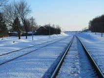 Linia kolejowa w zimie Obrazy Stock