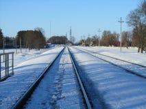 Linia kolejowa w zimie Zdjęcia Stock