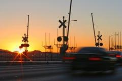 linia kolejowa wschód słońca Zdjęcia Royalty Free
