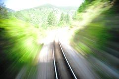 linia kolejowa zamazany szybki pociąg Fotografia Stock