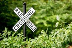 Linia kolejowa znaka skrzyżowanie Zdjęcia Stock
