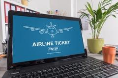 Linia lotnicza bileta pojęcie na laptopie Fotografia Stock