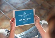 Linia lotnicza bileta pojęcie na pastylce Obraz Stock