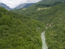 Linia nad montenegrian Tara rzeki jarem Obraz Royalty Free