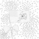 Linia projekt flaga amerykańska z fajerwerkiem, szczęśliwy 4th Lipiec dla projekta elementu i kolorystyki książki strony wektor Zdjęcia Stock