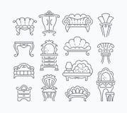 Linia set graficzne retro meblarskie rzeczy Zdjęcia Royalty Free
