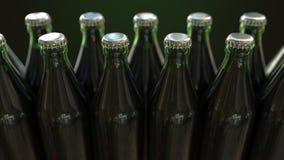 Linia zamknięte zieleni butelki z piwem lub wodą mineralną, 3D rendering ilustracji
