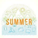 Linie Art-flache Vektor-Farbsommer-Illustration mit Insel-, Ozean-, Gebirgs-, Palmtrees, Shells, der Yacht und der Reiseikonen Lizenzfreie Stockfotos