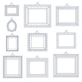 Linie Art Frame Foto Picture Painting-Dekorations-Zeichnungs-Symbol-Schablonen-Ikone eingestellt auf stilvollen schwarzen Hinterg Lizenzfreie Stockfotografie