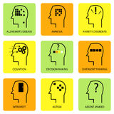 Linie Art Icon Of Human Mind Lizenzfreies Stockbild