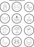 Linie Art-Ikonen Halloweens 2016 Lizenzfreie Stockfotos