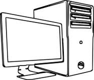 Linie Art Illustration Of ein Tischrechner /eps Lizenzfreies Stockfoto