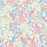 Linie Art Leaves Seamless Pattern Background Lizenzfreies Stockbild