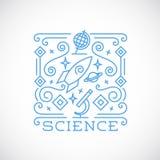 Linie Art-Wissenschafts-Vektor-Illustration Stockfotografie