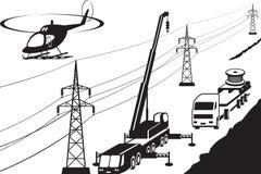 Linie der elektrischen Energieübertragung Wartung stock abbildung