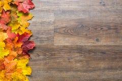 Linie des Herbstlaubs auf dem links auf einem hölzernen Hintergrund Stockbild