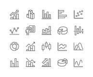 Linie Diagramm-Ikonen Stockfotos