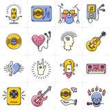 Linie die eingestellten Kunstmusikikonen schaukeln Punkjazzsymbole stock abbildung