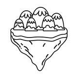 Linie Eisberge und -büsche in der Flossinsel vektor abbildung