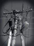 Linie energetyczne, władza kable, Elektryczna linia Obrazy Stock