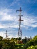 Linie energetyczne wśród natury w promieniach zmierzch na wiosna dniu Zdjęcie Royalty Free