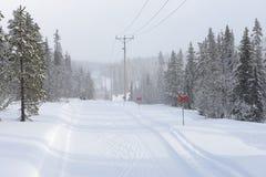 Linie energetyczne w zima krajobrazie Obrazy Stock