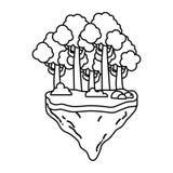 Linie exotische Bäume und Büsche im Floss idland lizenzfreie abbildung