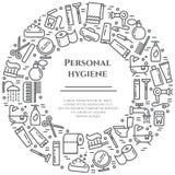 Linie Fahne der persönlichen Hygiene Satz Elemente der Dusche, der Seife, des Badezimmers, der Toilette, der Zahnbürste und ander Stockbilder