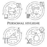Linie Fahne der persönlichen Hygiene Satz Elemente der Dusche, der Seife, des Badezimmers, der Toilette, der Zahnbürste und ander Lizenzfreie Stockfotografie