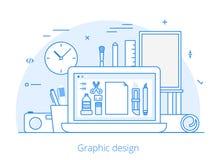 Linie flache Grafikdesignwebsitekunst bearbeitet Vektor