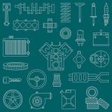 Linie flache Vektorikonen-Autoteile stellte mit Fahrgestellenden-Verbrennungsmotorelementen ein industriell karikatur Lizenzfreie Stockfotos