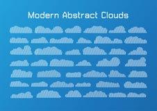 Linie flache Wolken lokalisiert auf blauem Hintergrund Stockfoto