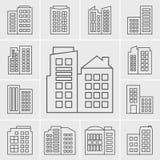 Linie Gebäude-Ikonen-Vektorillustrationssatz Stockbilder