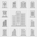Linie Gebäude-Ikonen-Vektorsatz Lizenzfreies Stockbild
