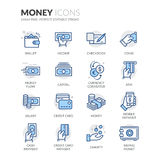 Linie Geld-Ikonen Stockfoto