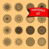 Linie gesetzte Vektorillustration der Mandala Lizenzfreie Stockfotografie