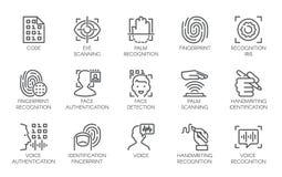Linie Ikonen der biometrischen Überprüfung der Identität lizenzfreie abbildung