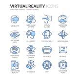 Linie Ikonen der virtuellen Realität Stockfotos