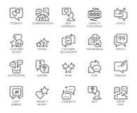 Linie Ikonen des Berichts 20 lokalisiert Kommentare oder Mitteilungschat sprudelt, Brauchbarkeitsbewertung, die Kommunikation und Stockbilder