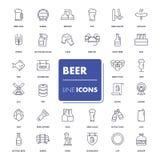 Linie Ikonen eingestellt Bier stockfotografie