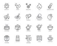 20 Linie Ikonen für das Kochen des Themas Vektorsatz Entwurfssymbole lokalisiert auf weißem Hintergrund Küchenzubehöraufkleber Stockfotografie