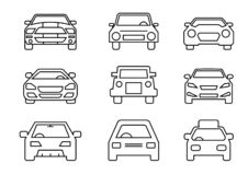 Linie Ikonen Satz, Transport, Autofront, Vektorillustrationen vektor abbildung
